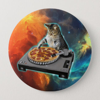 Cat dj with disc jockey's sound table 10 cm round badge