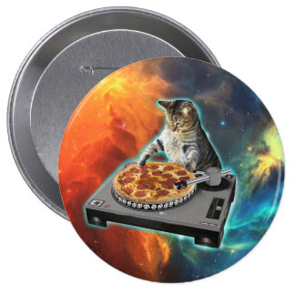 Cat dj with disc jockey's sound table 10 cm round badge