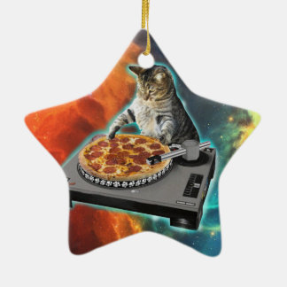 Cat dj with disc jockey's sound table christmas ornament