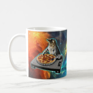 Cat dj with disc jockey's sound table coffee mug