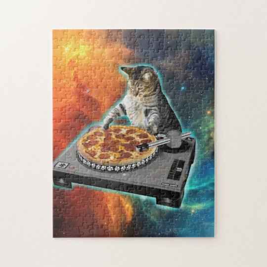 Cat dj with disc jockey's sound table jigsaw