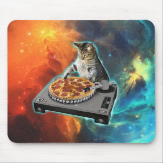 Cat dj with disc jockey's sound table mouse mat