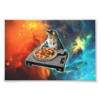Cat dj with disc jockey's sound table photo print