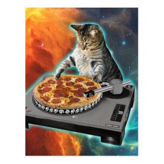Cat dj with disc jockey's sound table postcard