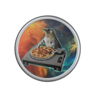 Cat dj with disc jockey's sound table speaker