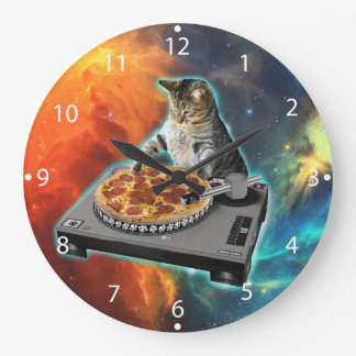 Cat dj with disc jockey's sound table wall clocks