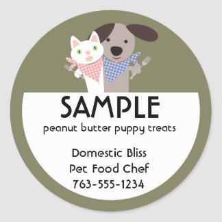 cat dog homemade pet food chef package stickers... round sticker