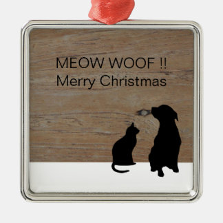 Cat dog illustration silhouettes Christmas Christmas Ornament
