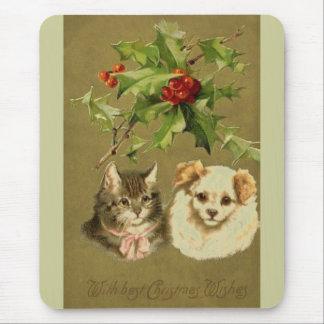 Cat & Dog's Christmas Card Mouse Mat
