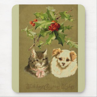 Cat & Dog's Christmas Card Mouse Pad