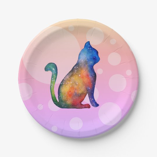 Cat Dots Custom Paper Plates 7 in 7 Inch Paper Plate