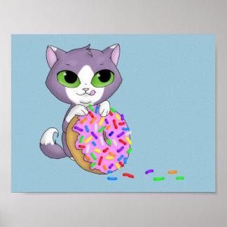 Cat & Doughnut Poster