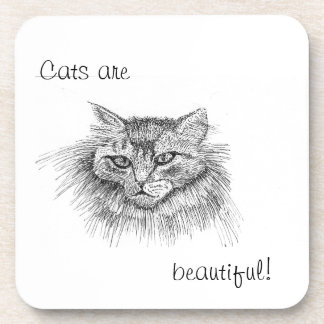 Cat Drawing Cork Coaster