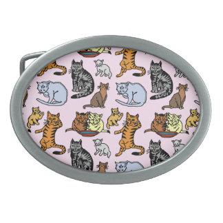 Cat Drawing Cute Vintage Pattern Oval Belt Buckles