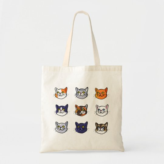 Cat Drawing Nine Different Breeds Budget Tote Bag
