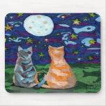Cat Dreams Full Moon art Mousepads