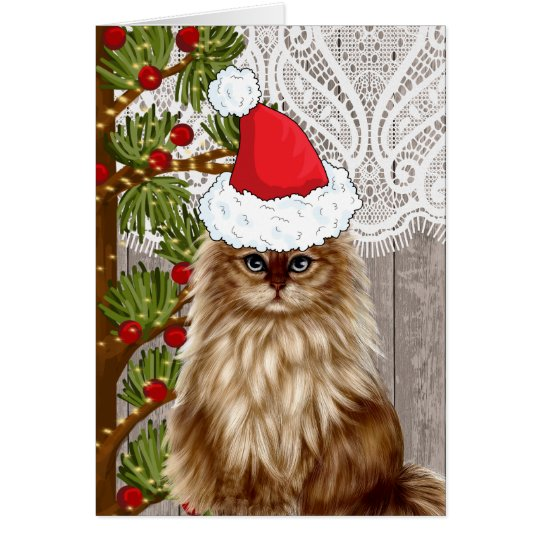 Cat dressed in Santa Hat for Christmas Card