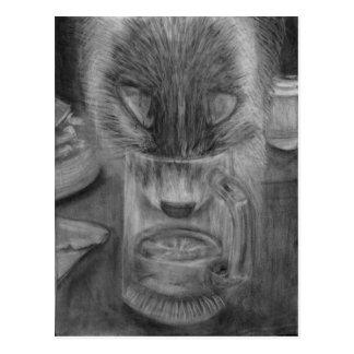 Cat Drinking Water Cute Original Charcoal Drawing Postcard