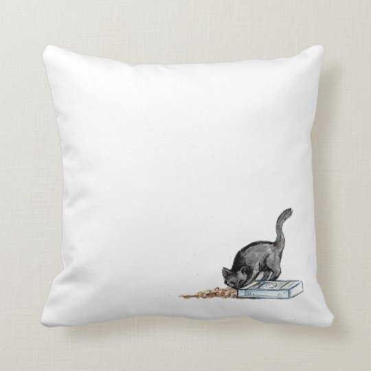 Cat Eating Cereal Throw Pillow