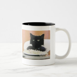 Cat Eating Spaghetti Two-Tone Coffee Mug