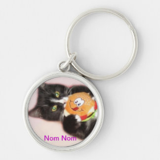 Cat eating toy burger. Silver-Colored round key ring