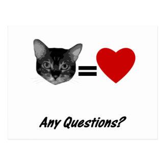 Cat Equals Love Postcard