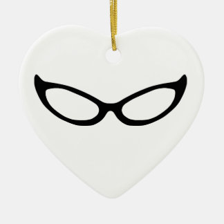 Cat Eye Glasses Ceramic Heart Decoration