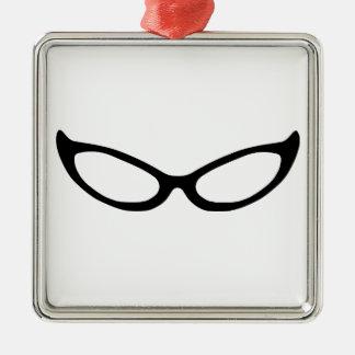 Cat Eye Glasses Silver-Colored Square Decoration
