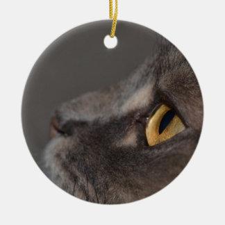 Cat Eye-Macro by Shirley Taylor Round Ceramic Decoration