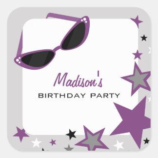 Cat Eye Sunglasses & Stars Purple Birthday Party Square Sticker
