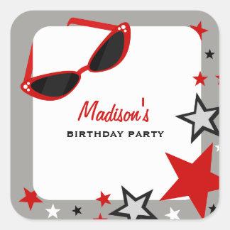 Cat Eye Sunglasses & Stars Red Birthday Party Square Sticker