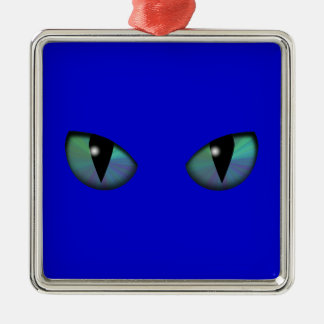 Cat Eyes Square Metal Christmas Ornament