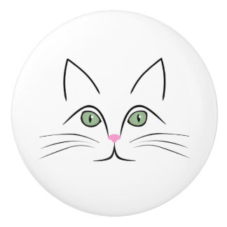 Cat face ceramic knob
