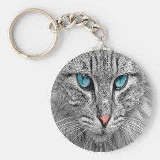 Cat face close-up custom family pet photo key ring