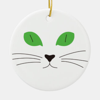 Cat Face Double-Sided Ceramic Round Christmas Ornament