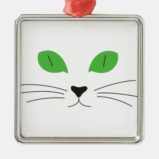 Cat Face Square Metal Christmas Ornament