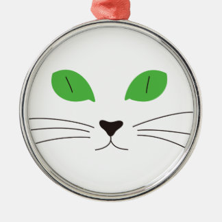 Cat Face Round Metal Christmas Ornament
