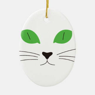 Cat Face Double-Sided Oval Ceramic Christmas Ornament