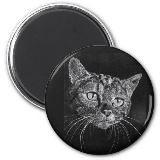 Cat Face Drawing 6 Cm Round Magnet