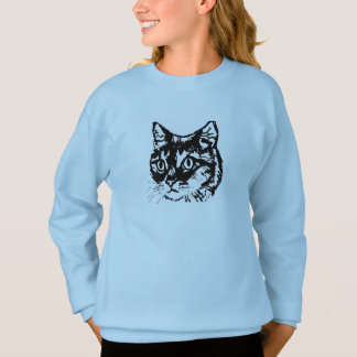 Cat face girls jumper sweatshirt