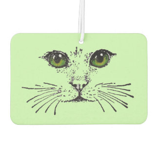 Cat Face Green Eyes Whiskers