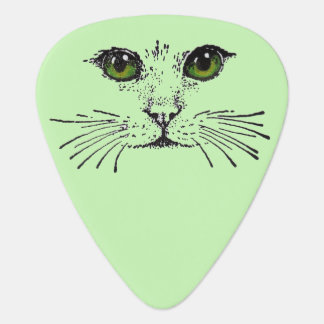 Cat Face Green Eyes Whiskers Guitar Pick