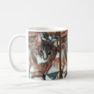 Cat Face on Quilt Coffee Mug