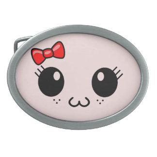 Cat Face Oval Belt Buckle
