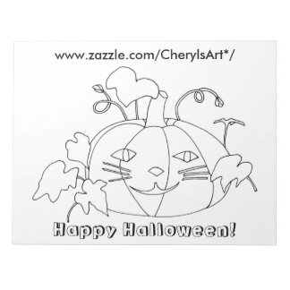 Cat Face Pumpkin Happy Halloween Coloring Notepads
