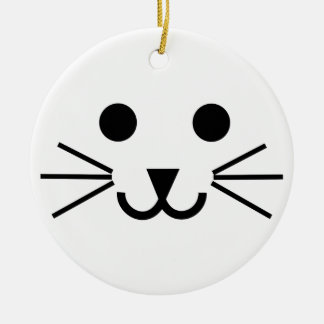 Cat Face Round Ceramic Decoration