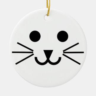 Cat Face Round Ceramic Decoration