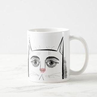 Cat face with eyes and pink nose basic white mug