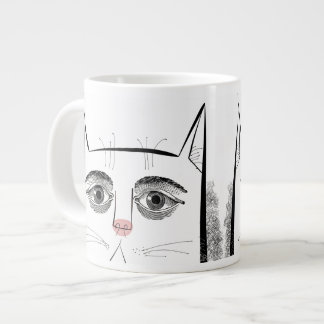cat face with eyes and pink nose extra large mugs