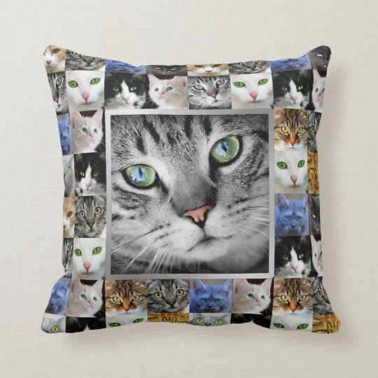 Cat Faces Collage Photo Template Cushion